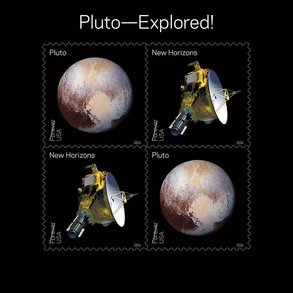 米国2016年の記念切手に冥王星と探査機