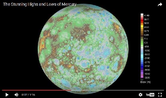 史上初!! 水星の地形を動画で公開